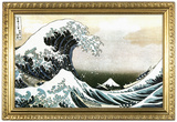 Great Wave off Kanagawa Hokusai Poster with Gilded Faux Frame Border Print