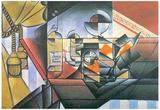 Juan Gris Clock and Bottle Cubism Art Print Poster Prints