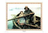 Helping Hand Little Girl Dad Art Print Poster Boat Poster