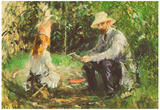 Berthe Morisot Eugene Manet and His Daughter in the Garden Impressionist Art Poster Print