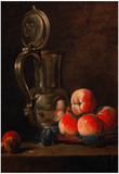 Jean-Baptiste-Simeon Chardin Still Life with Tinjar and Peaches Art Print Poster Posters