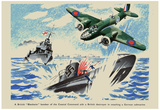 British Blenheim Bomber of Coastal Command Aids a British Destroyer WWII War Propaganda Poster Prints