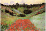 Claude Monet Poppy Field of Flowers in Giverny Art Print Poster Posters