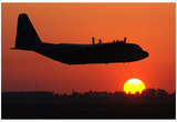 C-130 Hercules (Take Off in Sunset) Art Poster Print Print
