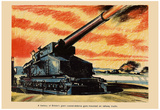 A Battery of Britain's Giant Coastal-Defence Guns WWII War Propaganda Art Print Poster Poster