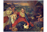 Tizian (The Madonna with the rabbit scene: Mary and Christ Child, St. Catherine and St. John the Ba Posters