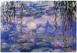 Claude Monet Water Lilies with Clouds Art Poster Print Foto