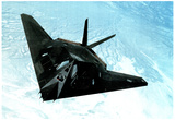 F117-A Stealth Fighter (In Air) Art Poster Print Posters