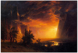 Albert Bierstadt Sunrise in Yosemite Valley Art Print Poster Photo