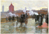 Childe Hassam Clearing Sunset Berkeley Street and Columbus Avenue Art Print Poster Posters