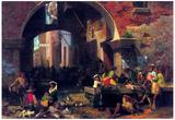Albert Bierstadt The Arc of Octavius Roman Fish Market Art Print Poster Posters