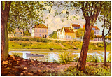 Alfred Sisley Village on the Bank of the Seine Art Print Poster Photo