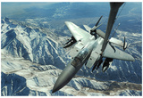 F-15E Strike Eagle (Refueling Above Mountains) Art Poster Print Posters