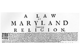 Broadside on the Maryland Toleration Act (1649) Art Poster Print Posters