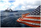 Cruiser (USS Vella Gulf, American Flag) Art Poster Print Kunstdrucke