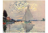 Claude Monet (Sailboat at Le-Petit-Gennevilliers) Art Poster Print Posters