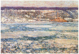 Childe Hassam Ice on the Hudson River Art Print Poster Prints