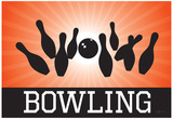 Bowling Orange Sports Poster Print Prints