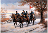 Civil War Blue Soldier On Horses Art Print Poster Posters