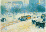 Childe Hassam Winter in Union Square Art Print Poster Posters