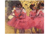 Edgar Germain Hilaire Degas (Dancers in pink between the scenes) Art Poster Print Prints