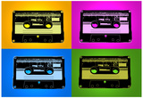 Audio Cassette Tapes Bright Pop Art Print Poster Posters