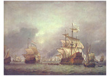 Willem van de Velde d. J. (The naval battle during the four captured vessels 1666) Art Poster Print Poster