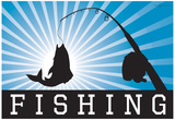 Fishing Blue Sports Poster Print Prints