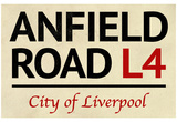 Anfield Road L4 Liverpool Street Sign Poster Poster