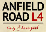 Anfield Road L4 Liverpool Street Sign Poster Masterprint