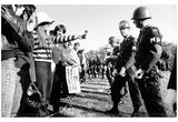 Anti-Vietnam Demonstration Girl Giving Police Flower B&W Archival Photo Poster Poster