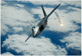 F-22 Raptor (Above Clouds, Firing) Art Poster Print Print