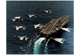 Fighter Jets Flying by USS George Washington ART PRINT Poster Photo
