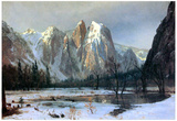 Albert Bierstadt Cathedral Rocks in Yosemite Art Print Poster Posters