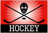 Hockey Red Sports Poster Print Plakaty