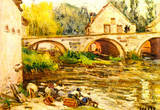 Alfred Sisley The Laundresses of Moret Art Print Poster Masterprint