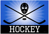 Hockey Blue Sports Poster Print Posters