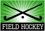 Field Hockey Crossed Sticks Green Sports Poster Print Prints
