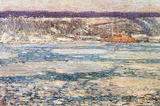 Childe Hassam Ice on the Hudson River Art Print Poster Masterprint