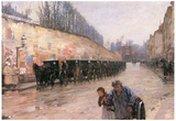 Childe Hassam Cab Station Rue Bonaparte Art Print Poster Posters