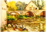 Alfred Sisley The Laundresses of Moret Art Print Poster Print