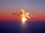 F/A 18 Super Hornet (In Sky, Sun Reflection) Art Poster Print Masterprint