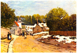 Alfred Sisley First Snow in Louveciennes Art Print Poster Prints