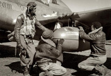 Tuskegee Airmen with Plane Archival Photo Poster Masterprint