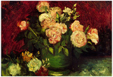 Vincent Van Gogh Bowl with Peonies and Roses Art Print Poster Posters
