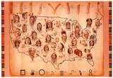Native American Tribes Map Art Print Poster - Reprodüksiyon