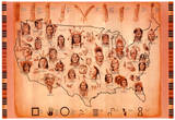 Native American Tribes Map Art Print Poster Posters