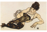 Egon Schiele (Woman with green stockings) Art Poster Print Posters