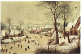 Pieter Brueghel (Winter landscape with skaters and bird case) Art Poster Print Prints