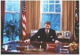 President Ronald Reagan in Oval Office Archival Photo Poster Print Prints
